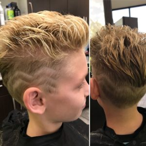 Side view of young boys hair style at The Salon at Lakeside