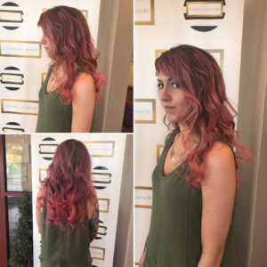 3 image of woman in front of Salon at Lakeside Step and Repeat with new hair color