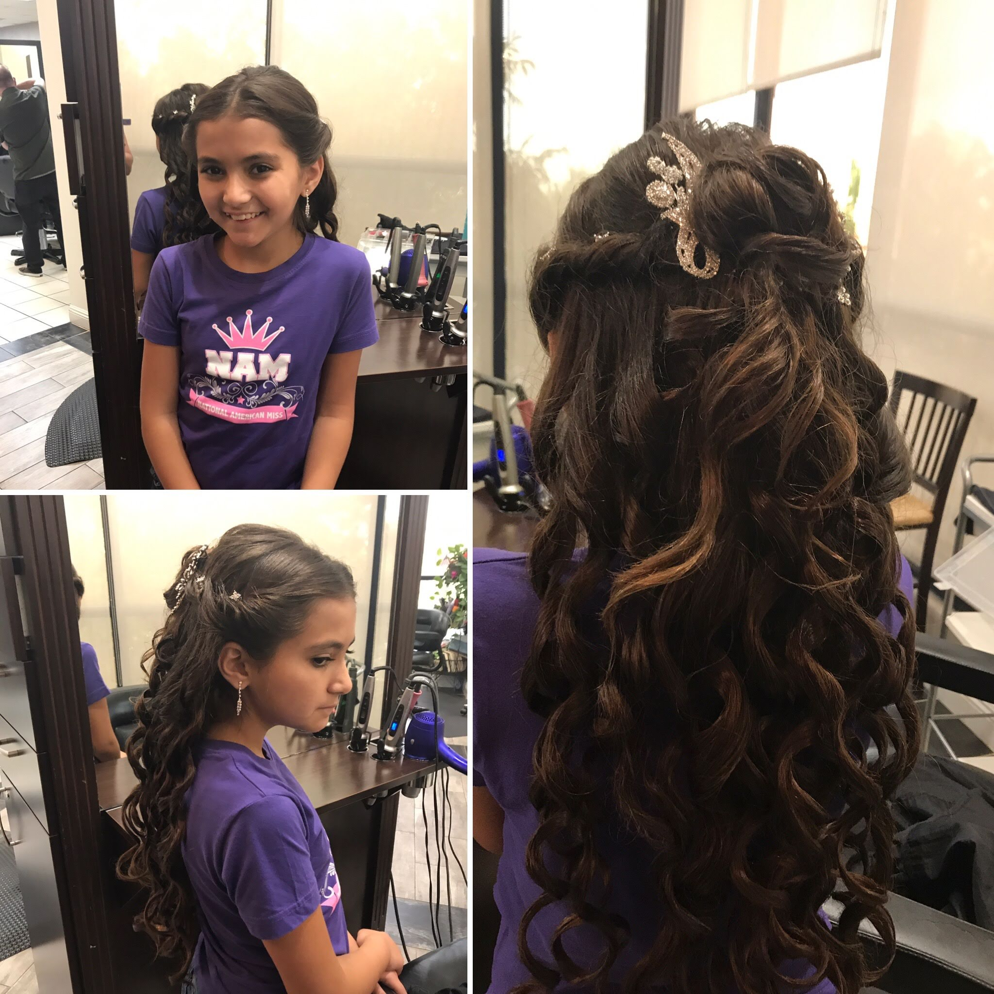 3 images of flower girl getting her hair styled and the Salon at Lakeside