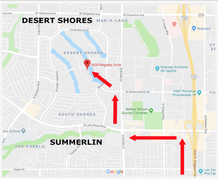 Map of Directions to The Salon at Lakeside