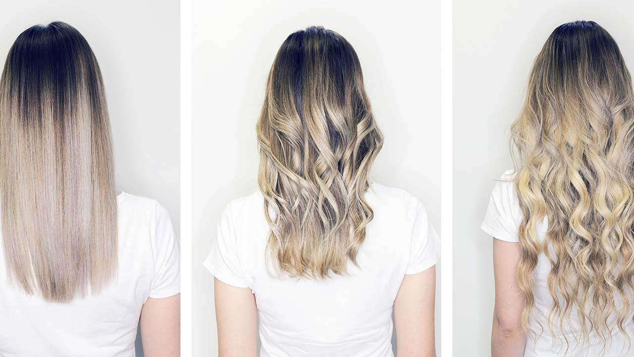 Image of 3 side by side shots of Balayage treatments at The Salon at Lakeside