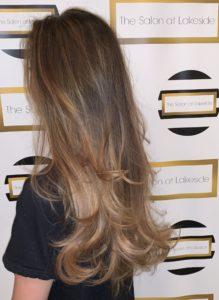 Side image of Balayage Hair customer at The Salon at Lakeside
