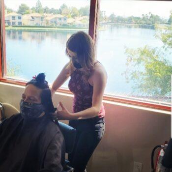 Alexa Melby styling hair at The Salon at Lakeside