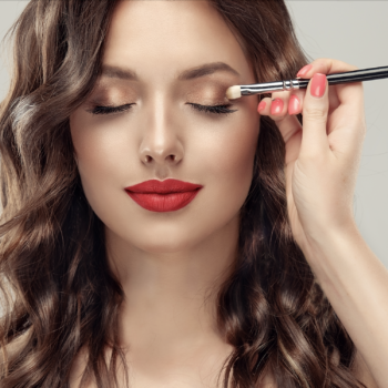 Makeup,Artist,Applies,Eye,Shadow,.,Beautiful,Woman,Face.,Hand