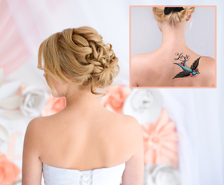 Wedding Day Tattoo Coverage Services at The Salon at Lakeside in the Vegas Area