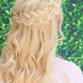 Blonde Hair with Braids for Bride for Summerlin Wedding at Lakeside Village, performed by The Salon at Lakeside