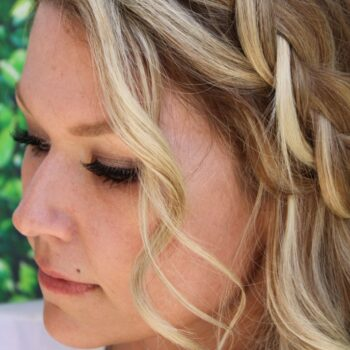 Front Braided Hair Style for Bride by The Salon at lakeside