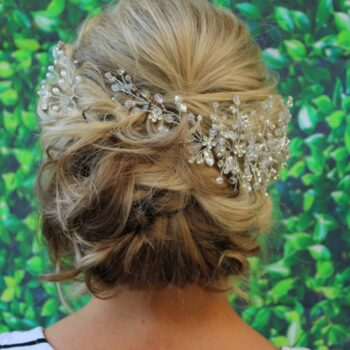 Up Do Bridal Hair with beautiful ornamental design by The Salon at Lakeside