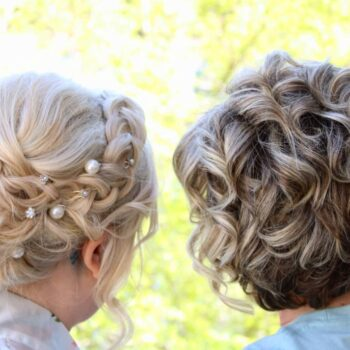 Back view of mother and daughter with braided hair styles at The Salon at Lakeside