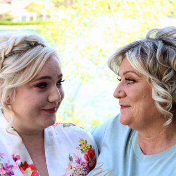 Mother Daughter both with Bridal Hair Braided by Stylists at The Salon at Lakeside