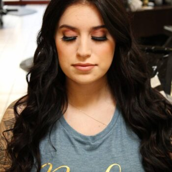 Front view of Hair and Makeup for dark hair bride at The Salon at Lakeside