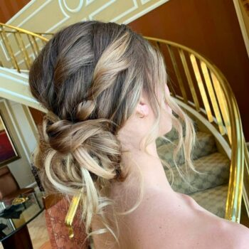 Back view of bride with braided hairstyle at The Salon at Lakeside
