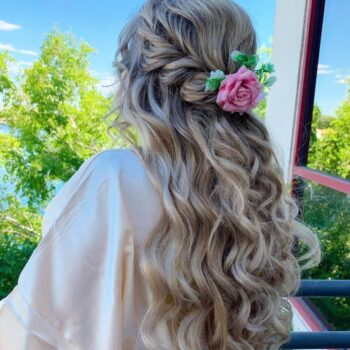 Long Blonde hair with extensions, braided with flowers for bride at The Salon at Lakeside